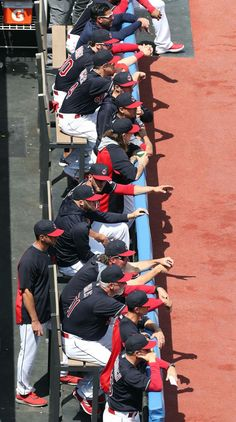 The Cleveland Indians dugout watching Corey Kluber pitch against the Texas Rangers at Progressive Field, on May Cute Baseball Players, Royals Baseball, Cleveland Browns Football, Cleveland Indians Baseball, Youth Baseball Gloves, Baseball Pants, Trevor Bauer, Corey Kluber