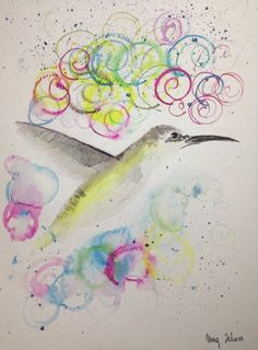 Watercolour Painting Christmas Gift Abstract Bird Original Art A4 MAG ZEBEN31 http://stores.ebay.co.uk/magzeben/