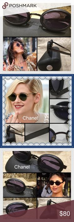 100% Retro Chanel Black Oval Lenses Sunglasses #83 These are vintage, retro, Italian, authentic Chanel sunglasses. They have purple/ black Oval lenses with metal frames.  These are used, therefore, not flawless. They show signs of wear, look at pictures carefully. There is a scuff on the right Lens in the middle. It does not impair vision. The metal arms have Chanel name etched in temples. The arms do have micro scratches. Chanel is inside of both arms.  Model # is on inside of left arm…