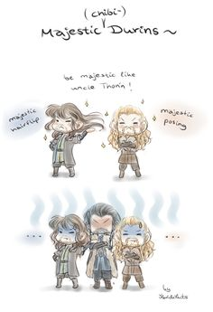 Just a quick little thing~ Fili and Kili want to be majestic as their uncle~ X'D Uncle Thorin is not amused... --- More Hobbit fanarts:  --- Find me also on tumblr. : ...