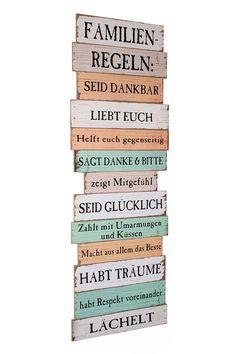 Großes Holzschild Holzbild Wandbild mit Familienregeln im Shabby Chic Stil zum Aufhängen - bunt 116cm Familie Regeln Schild Holz Latten Dekoschild Wanddeko Bild Vintage