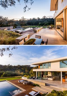 This modern house has a terrace that provides expansive views of the backyard and canyon beyond. The backyard is home to 4 outdoor fireplaces and a fire pit, a level grassy lawn, a regulation Bocce court and array of dining and entertaining terraces. #Backyard #Terrace #SwimmingPool #Landscaping