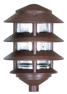 "Nuvo Lighting 76/633 Single Light 9"" Three Louver Pathway Light with Small Hood Old Bronze Outdoor Lighting Landscape Lighting Path Lights"
