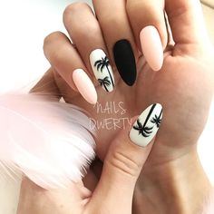 """If you're unfamiliar with nail trends and you hear the words """"coffin nails,"""" what comes to mind? It's not nails with coffins drawn on them. It's long nails with a square tip, and the look has. Cute Summer Nail Designs, Cute Summer Nails, Cute Nails, Pink Summer, Nail Summer, Summer Nails 2018, Summery Nails, Style Summer, Simple Nails"""