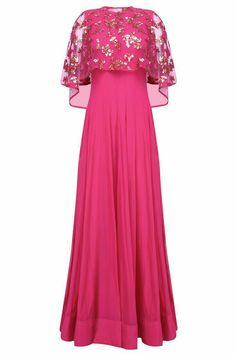 watch its colour. SO GOOD Hot pink anarkali set with hand embroidered asymmetric cape available only at Pernia's Pop Up Shop. Pakistani Outfits, Indian Outfits, Indian Ethnic Wear, Indian Attire, Indian Designer Outfits, Designer Dresses, Dress Outfits, Fashion Dresses, Indian Gowns Dresses