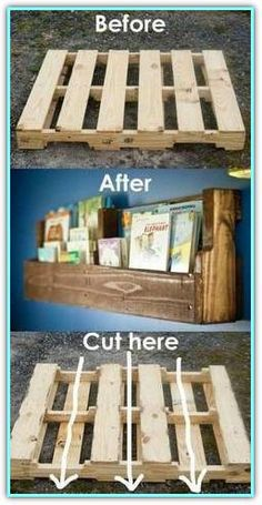 Pallet woods are a versatile DIY project for your home! Give this mini pallet bo. - Pallet woods are a versatile DIY project for your home! Give this mini pallet bookshelf a try and a - Diy Pallet Furniture, Diy Pallet Projects, Furniture Projects, Wood Projects, Woodworking Projects, Book Furniture, Mini Pallet Ideas, Bedroom Furniture, Pallet Kids