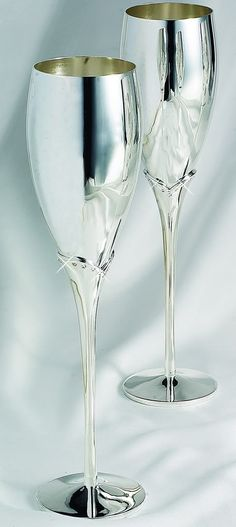 Sterling Silver Plated Wedding Toasting Glasses with Crystals