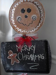 The Gingerbread Man made out of cookie sheets