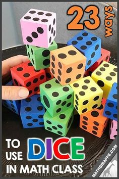 Ideas for using dice in middle school Pre-Algebra, high school Algebra 1, and beyond! How can you bring some hands-on spontaneity into your math classroom?  It's super easy! Invest in some dice and get some inspiration below. When you make math more hands-on, you not only more successfully engage your students, but you are helping the learning stick in their brains; retention is improved.  There so many creative ways to get your students using dice in math class. Algebra Activities, Math Manipulatives, Math Resources, Math Games, Teaching Math, Dice Games, Algebra Games, Math Multiplication, Teaching Ideas