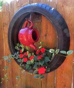 Tire Garden, Garden Yard Ideas, Garden Crafts, Balcony Garden, Lawn And Garden, Garden Projects, Garden Art, Easy Garden, Yard Art Crafts