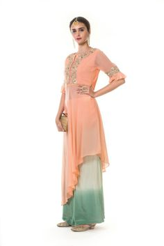 Featuring a Peach Hnad Embroidered High Low Top with Pleated Sleeves & Shaded Palazzo. The top is gorgeously hand embroidered. High Low Top, Bridesmaid Dresses, Wedding Dresses, Palazzo, Ready To Wear, Peach, Shades, Clothes For Women, Sleeves