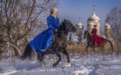 Русские традиции. Зимняя охота с борзыми собаками.
