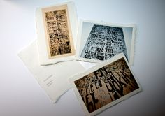 Final Images from all projects printed on parchment paper.