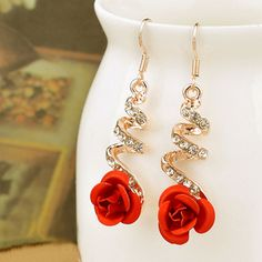 Crystal 2016 Women Rose Flower Earings Pearl Gold Long Dangle Ladies Wedding Party Fashion Jewelry
