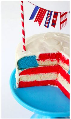 July, Cake, American Flag, Fourth of July | Dessert | Cakes