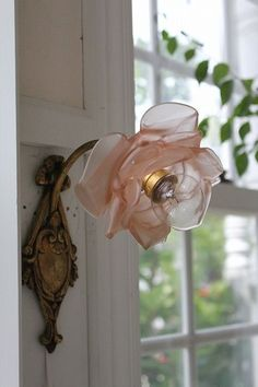 Antique French Bronze Sconce with frosted glass rose lamp shade