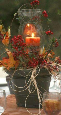 Bucket lamp floral arrangements candle.