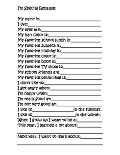 This is a cute survey that I give my kindergarten students at the end of the year. The answers turn out very cute because I write down exactly what...