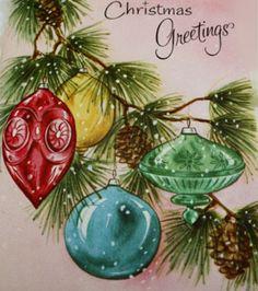 Vintage Christmas Card, Angel Ornament