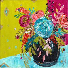 original art by Bari J., Bouquet of flowers number 1 in series of four. Art, painting