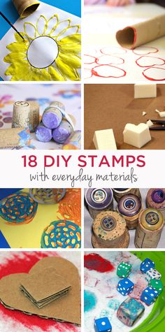 Great round-up of homemade stamps made from household objects | TinkerLab
