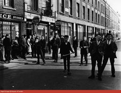 A large group of Teddy Boys, Princedale Road. 1956