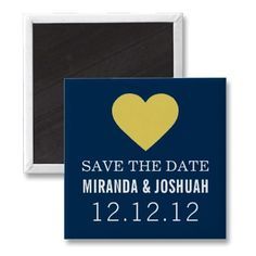 Yellow & Navy Heart Design Save The Date #Magnets #weddings