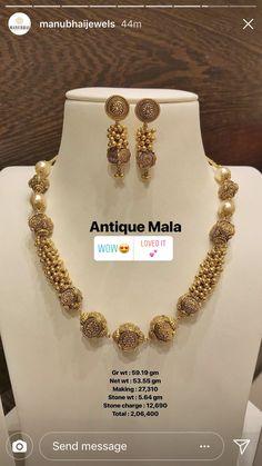 Light Weight Gold Jewellery, Fancy Jewellery, Gold Jewellery Design, Gold Jewelry, Beaded Jewelry, Pearl Jewelry, Simple Jewelry, Indian Jewelry, Wedding Jewelry