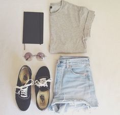 Grey shirt with light washed denim high wasted shorts and vans