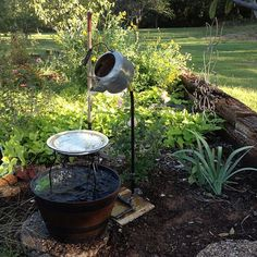 my hubby spent an hour at lowes figuring out how to make this i love it, gardening, outdoor living, repurposing upcycling, my kettle fountain my hubby made Garden Crafts, Garden Projects, Garden Art, Garden Design, Home And Garden, Landscape Design, Box Deco, Garden Fountains, Water Fountains