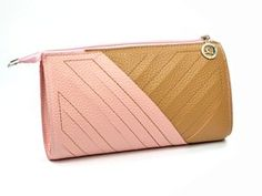 KLOUD ® Pink and Light Brown (assorted color) leather women handbag / clutch bag / wristlet wallet / purse / credit card holder case with two staps plus KLOUD cleaning cloth,
