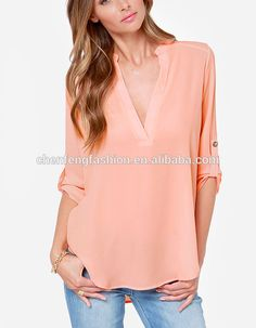 CHEFON Pretty peach deep v neck silky woven models blouses for ladies