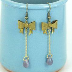 Gold Pretty Ribbon Long Earrings One Size