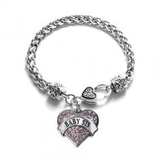 Baby Sis Pave Heart Bracelet - Select Your Stone Color!