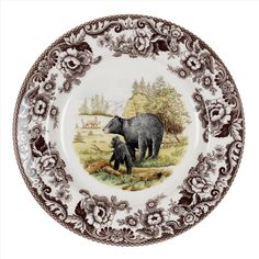 Spode Woodland Dinner Plate 10.5 inch (Black Bear) - Woodland - Collections -Spode USA