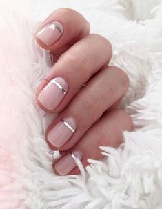 Pretty blush pink nude nails with a metallic silver accent stripe. Pretty pink a. - Pretty blush pink nude nails with a metallic silver accent stripe. Pretty pink and metallic nail ar - Metallic Nails, Nude Nails, Gel Nails, Acrylic Nails, Gradient Nails, Nail Nail, Blush Pink Nails, Nail Glue, Sparkle Nails