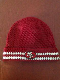 #NFL #49ers #football #SuperBowl #crochet #hat #beanie
