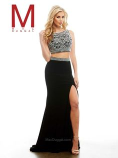 Cassandra Stone by Mac Duggal. Prom 2016. prom dress shopping. prom styling. makeup and hair ideas for prom 2016. high school prom. long, black prom dress.  two-piece prom dress.