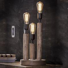 Tafellamp 'Nicolas' 3-lamps Spot Luminaire, Luminaire Design, Flush Ceiling Lights, Wall Lights, Knife Block, Candle Sconces, Light Bulb, Interior Decorating, Candles