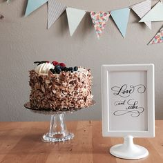 Because a pretty cake always deserves a pretty sign 🎂💕🖋  This sign was hand-lettered with a professional calligraphy pen and ink and then digitized on Photoshop.  Get yours and print it in the size you want at home or at your favorite printer!