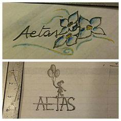 """Mi hanno chiesto di abbozzare due idee per un tatuaggio, con la parola """"aetas"""" che significa giovinezza."""