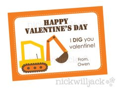 Kids' Printable Construction Digger Valentine Card