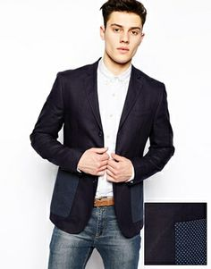 ASOS Slim Fit Blazer In Cut And Sew 100% Linen