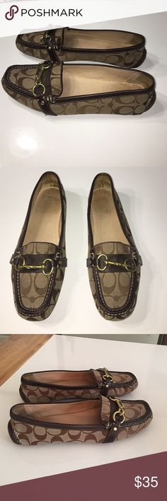 Authentic Coach signature canvas loafers sz 10 Authentic Coach signature brown canvas & leather loafers sz 10 has light scuffs/marks there is some wear on bottom front tips please zoom in last picture sold as is Coach Shoes Flats & Loafers
