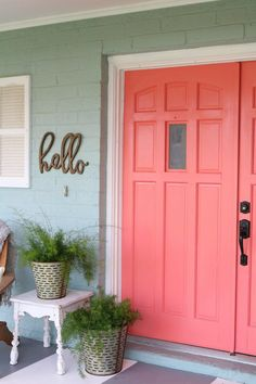 Loving these bright front doors! So easy to make a statement with bold front door paint choices using DecoArt Inc.'s Curb Appeal paint. Such cheery front doors on a colorful porch. Cute outdoor decor ideas!