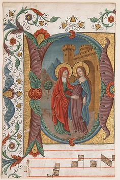 Manuscript Illumination with the Visitation in an Initial D, from a Choir Book, Spanish Forger (French, active late 19th–early 20th century), Tempera, ink, and gold on parchment, French