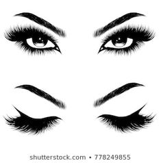 Hand-drawn woman's sexy makeup look with perfectly perfectly shaped eyebrows and extra full lashes. Idea for business visit card, typography vector.Perfect salon look - Buy this stock vector and explore similar vectors at Adobe Stock Eyelash Extensions, Eyelashes Drawing, False Eyelashes, Fake Lashes, Thick Eyelashes, Permanent Eyelashes, Eyebrows, Eyelash Studio, Tiny Tattoo