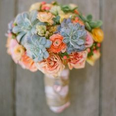 peach succulent wedding flower bouquet, bridal bouquet, wedding flowers, add pic source on comment and we will update it. www.myfloweraffair.com can create this beautiful wedding flower look.