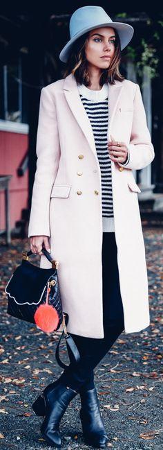 BANANA REPUBLIC coat | ANINE BING striped knit | AYR The hi-rise skinny pants | RAG & BONE Grosgrain band floppy brim fedora in pale blue | ALEXANDER WANG Gabi booties | JOCELYN bag charm | THALE BLANC Audrey pearl backpack