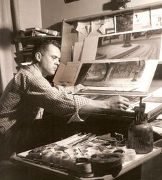 Ralph Hulett at work at Disney Studios, circa 1940's appears to be working on Lady and the Tramp. (!)